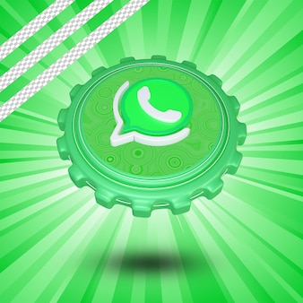 Glossy whatsapp logo isolated 3d design