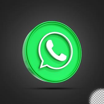 광택 whatsapp 소셜 미디어 로고 아이콘 3d 렌더링