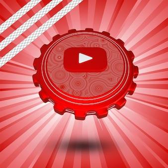 Глянцевый логотип youtube изолированный 3d-дизайн