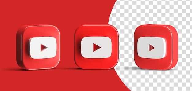 Глянцевая кнопка воспроизведения youtube в социальных сетях, набор иконок с логотипом, 3d визуализация, создатель сцены, изолированный