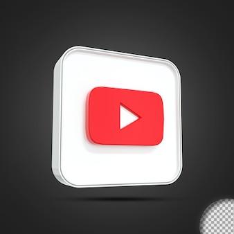 광택 youtube 소셜 미디어 로고 아이콘 3d 렌더링