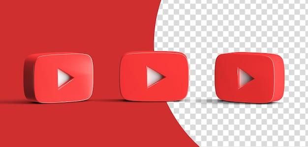 Glossy youtube social media logo icon set 3d render isolated