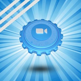 Глянцевый логотип зум изолировал 3d дизайн
