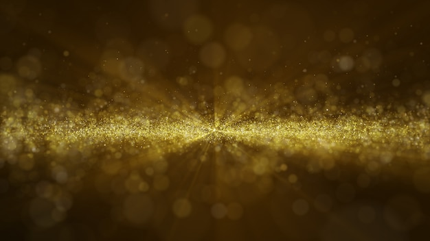 Glow golden dust particale glitter sparks abstract background for celebration with light beam and shine in center. fly through.