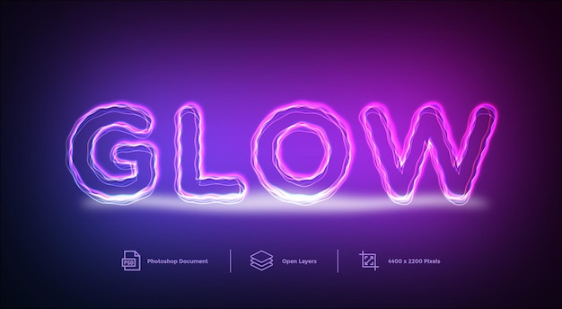 Glow lines text effect design template style effect
