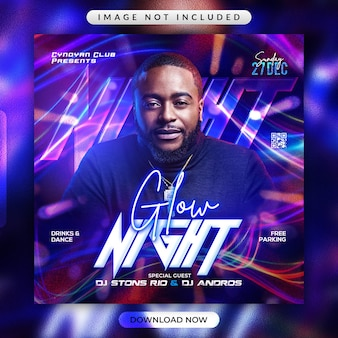 Glow night party flyer or social media banner template