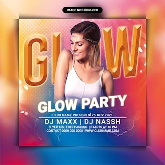 Glow night party flyer template