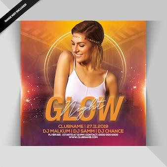 Glow night party flyer