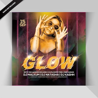 Glow night party invitation or square flyer template