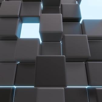 빛나는 어두운 큐브 배열