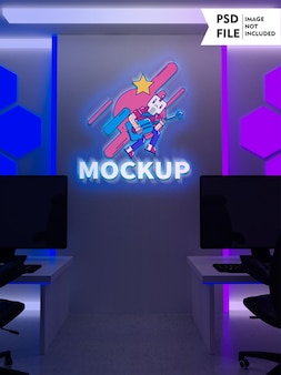 Glowing gaming room wall mockup