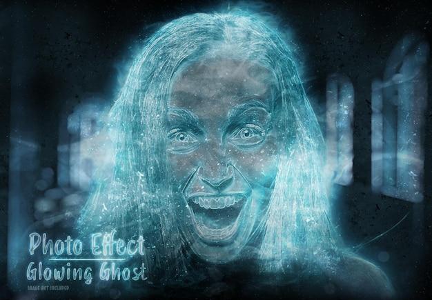 Glowing ghost photo effect mockup