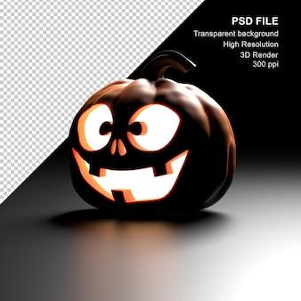 Glowing halloween pumpkin 3d render psd file