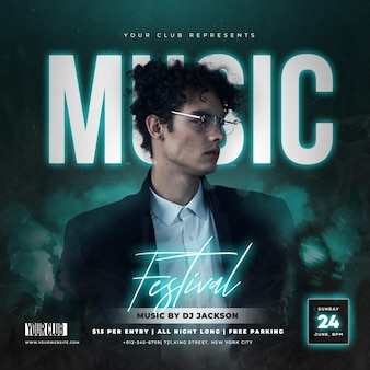 Glowing music festival party social media post template