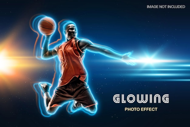 Glowing neon outline photo effect template