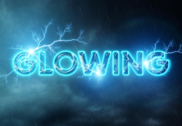 Glowing text effect with lightning mockup