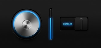Glowing volume knob & ; switch  psd