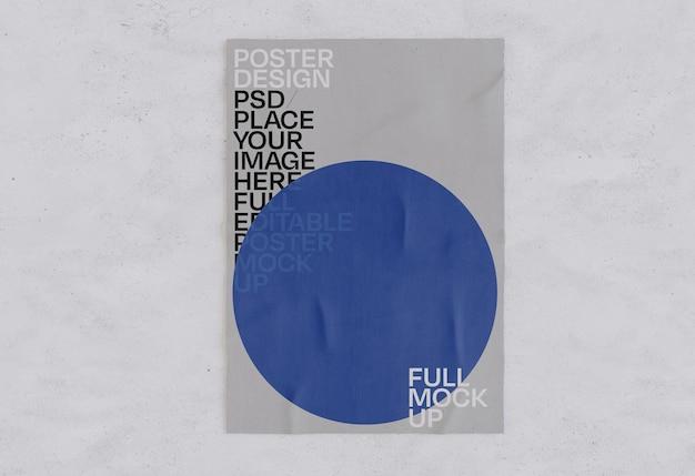 Glued paper poster wrinkled mockup