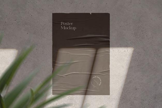 그림자 오버레이 및 잎으로 접착 된 포스터 모형
