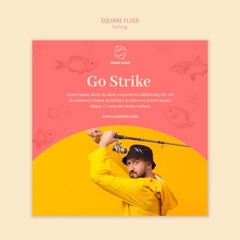 Go strike and fishing square flyer template
