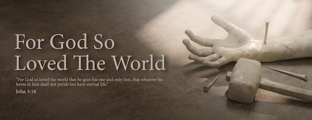 For god so loved the world banner 3d rendering template