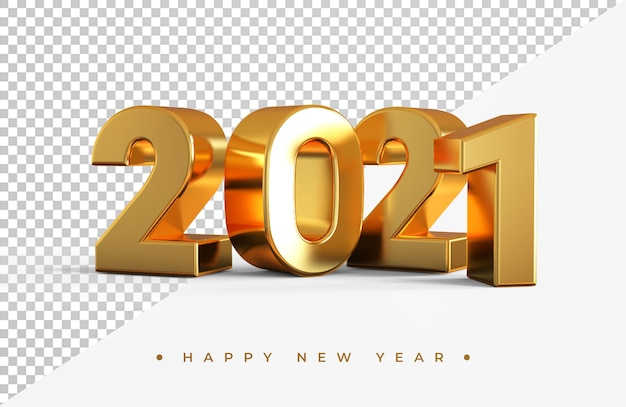 Gold 2021 new year 3d rendering isolated Premium Psd