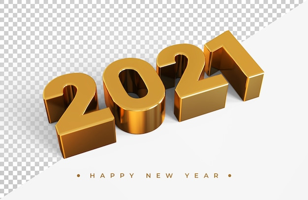 Gold 2021 new year 3d rendering isolated