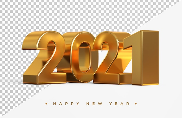골드 2021 새 해 3d 렌더링 절연