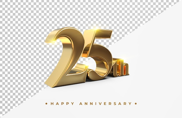 Золотая 25-я годовщина 3d-рендеринга изолированные