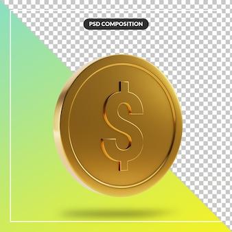 Золотая 3d монета визуально для изолированной композиции