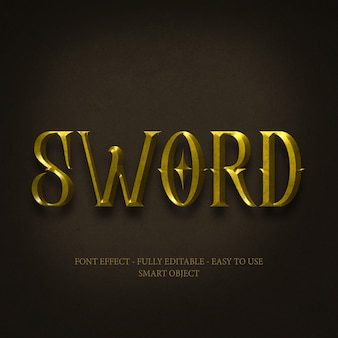 Gold 3d font effect with editable layers