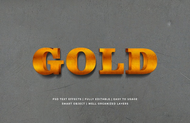 Gold 3d text style effect premium psd