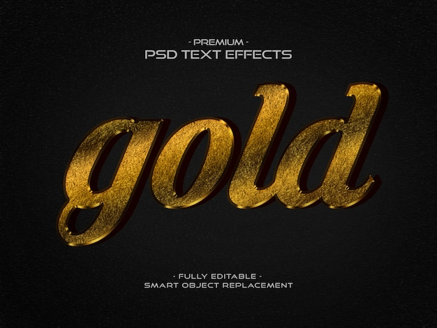 Gold 3d text style effect psd