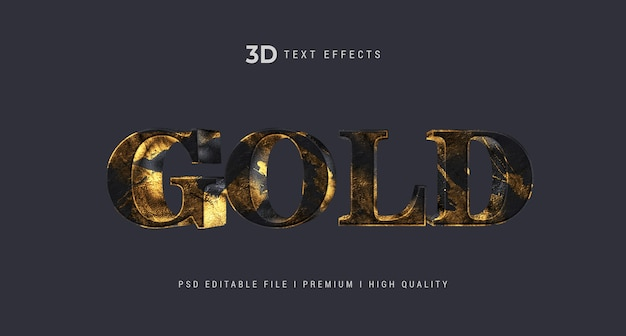 Gold 3d text style effect template