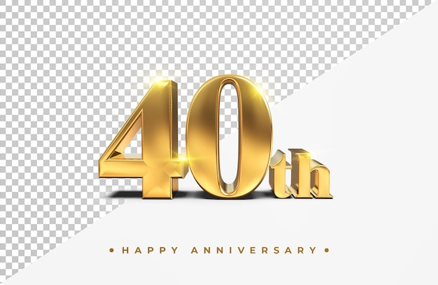 Gold 40th happy anniversary 3d rendering isolated