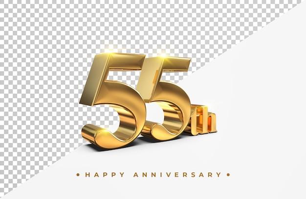 골드 55 주년 기념 3d 렌더링 절연