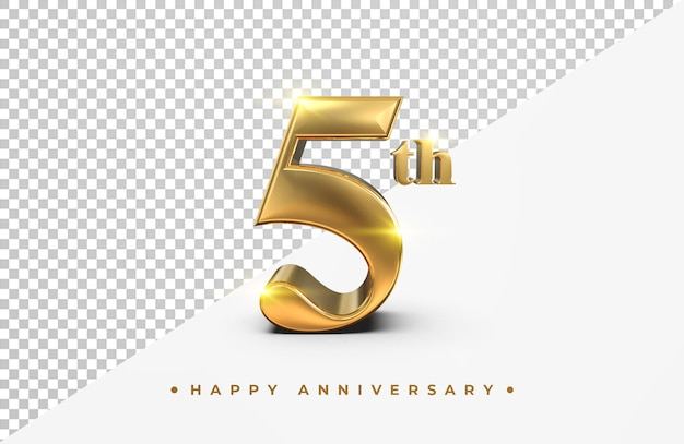Gold 5th happy anniversary 3d rendering isolated
