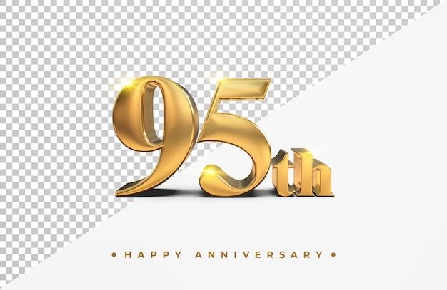Золото 95 лет с юбилеем 3d рендеринг изолированные