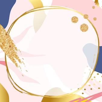 ピンクのメンフィスの背景にゴールドの抽象的なpsdフレーム