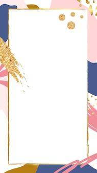 Золотая абстрактная рамка psd на розовом фоне мемфиса
