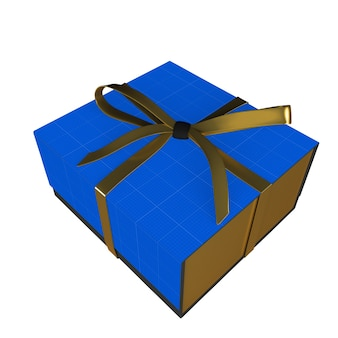 Мокап золотой и голубой подарочной коробки