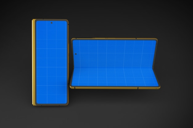 ゴールドとダークフォールドの携帯電話のモックアップ