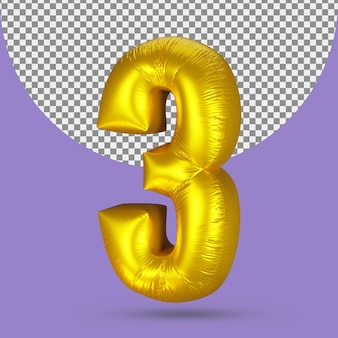 Gold balloon of realistic 3 number