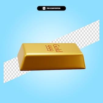 Золотой слиток 3d визуализации изолированных иллюстрация