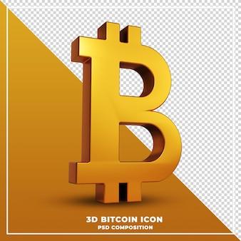 分離されたゴールドビットコイン3dレンダリング