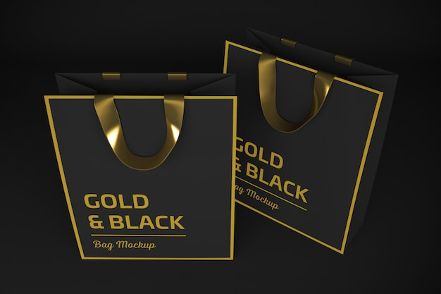 Gold & black bag 3d rendering