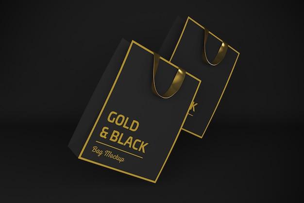 Gold & black bag 3d rendering