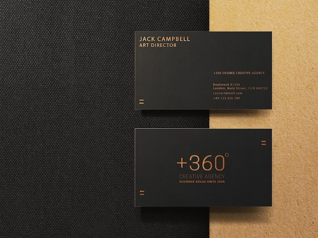 Gold and black business card mockup template
