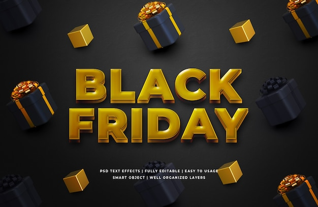 Gold black friday 3d text style effect template