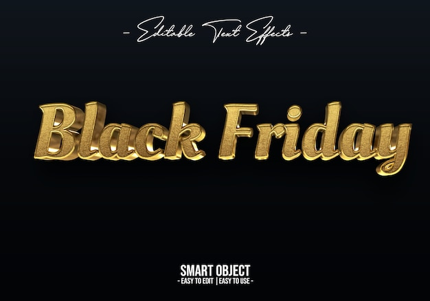 Gold black friday text style effect